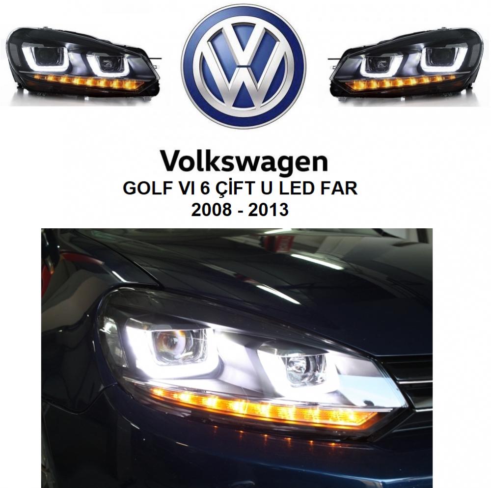 Volkswagen Golf 6 çift U Kayar Sinyalli Led Far 2008 2013 Fiyatı Taksit Seçenekleri