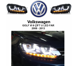 VOLKSWAGEN GOLF 6 ÇİFT U KAYAR SİNYALLİ LED FAR (2008-2013)
